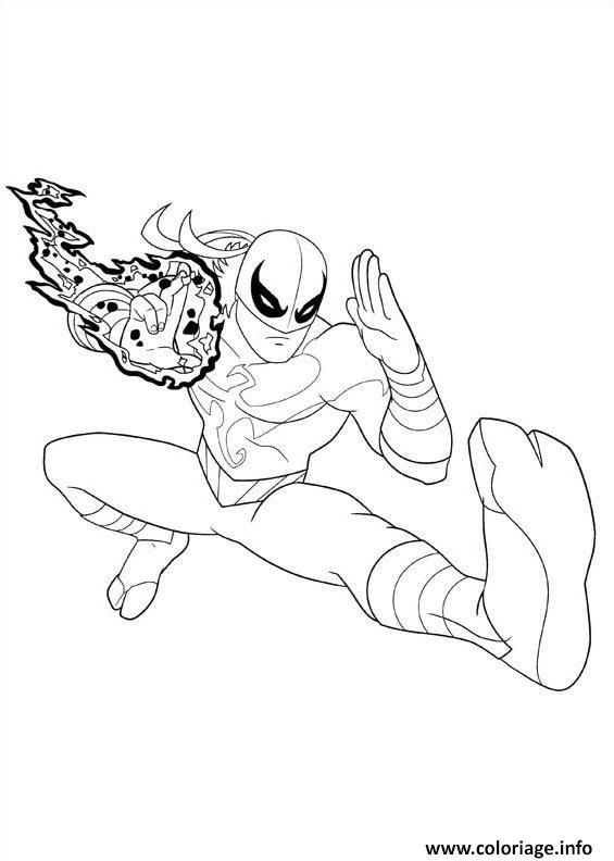 Coloriage Ultimate Spiderman Iron Fist 2 Dessin à Imprimer