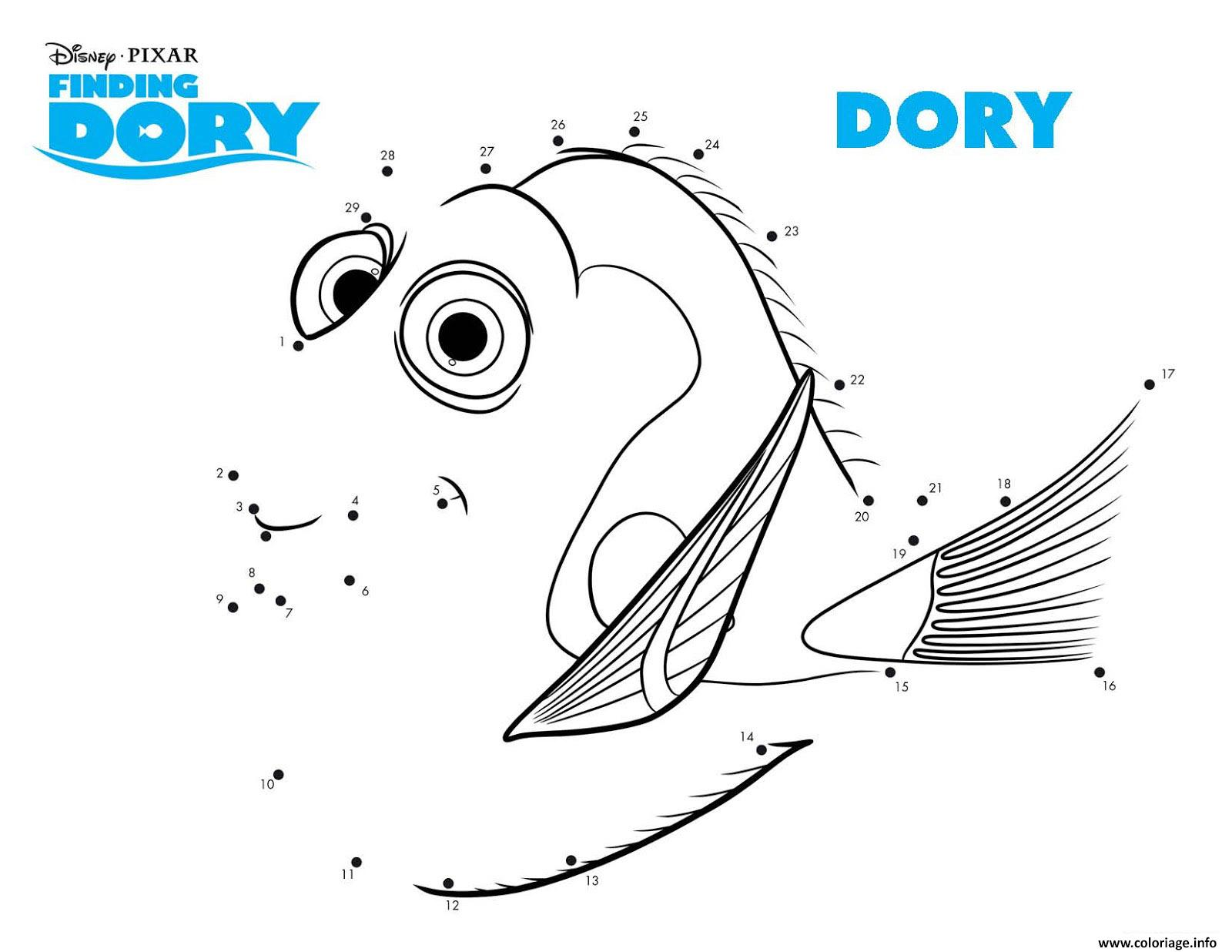 Coloriage le monde de dory point a relier 2 - Point a relier gratuit ...
