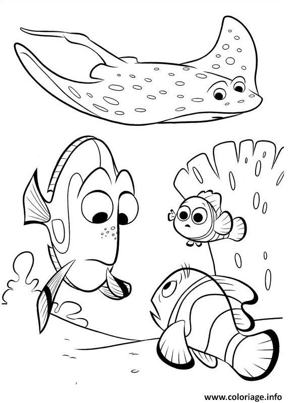 Coloriage mr raie avec dory de nemo dessin - Nemo coloriage ...