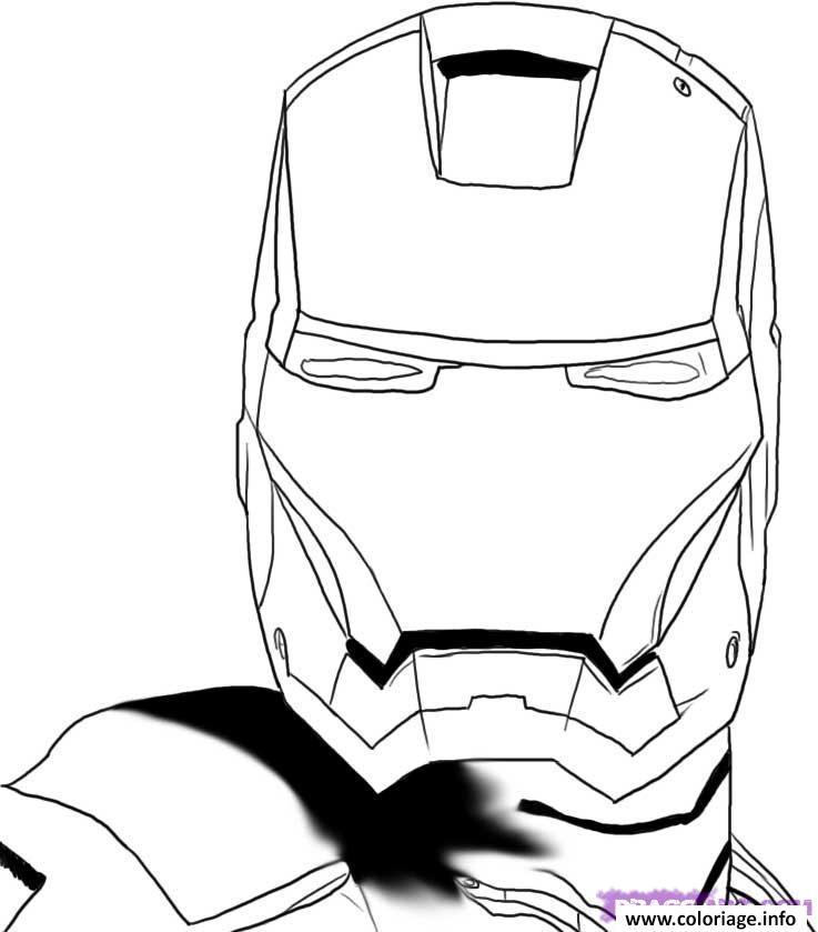 casque de iron man coloriage dessin