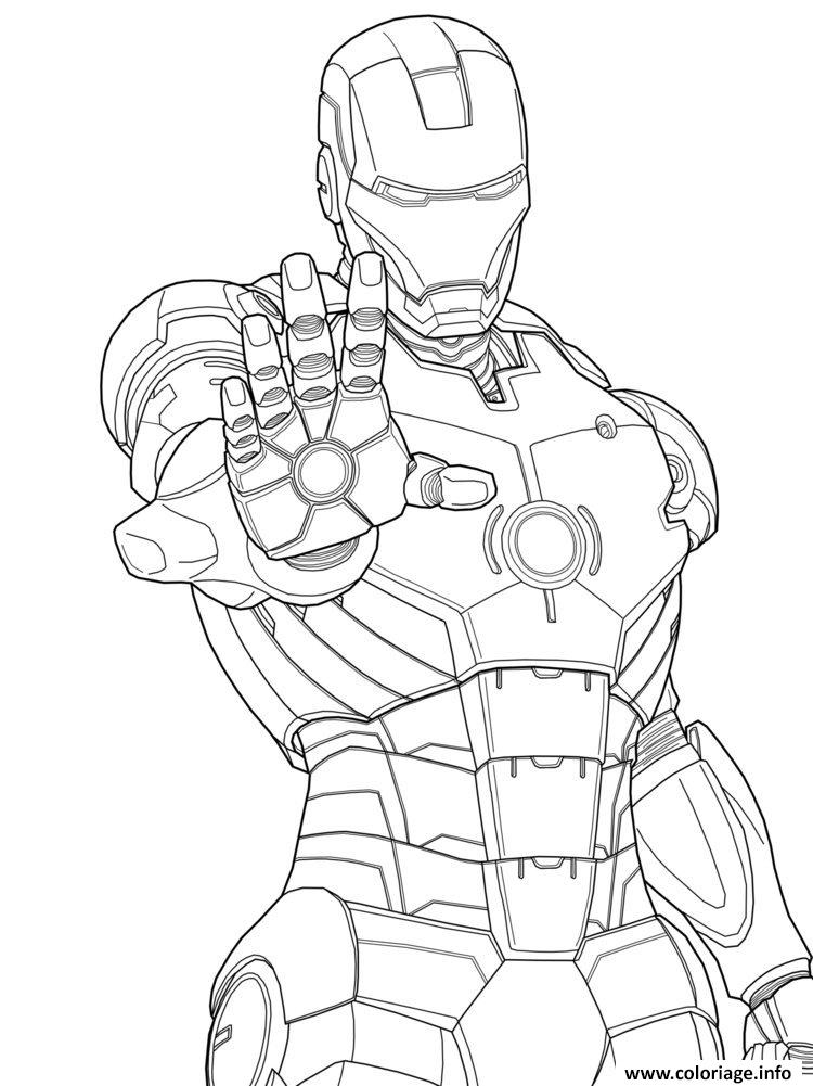 Dessin iron man 3 marvel mode defense Coloriage Gratuit à Imprimer