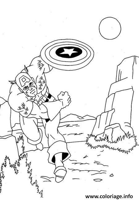 Dessin avengers captain america nature Coloriage Gratuit à Imprimer