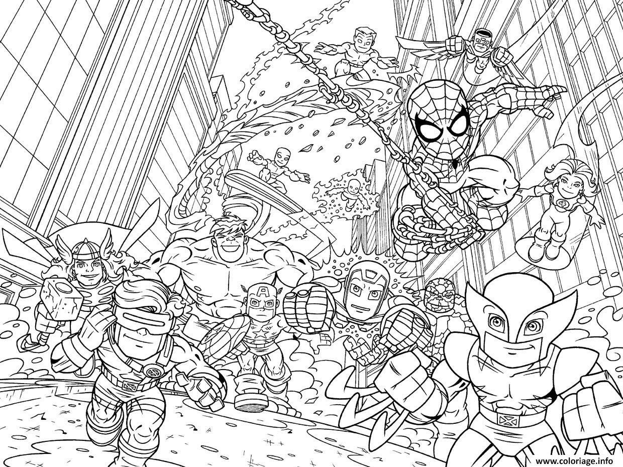coloriage avengers mini iron man spiderman captain america hulk kids dessin gratuit