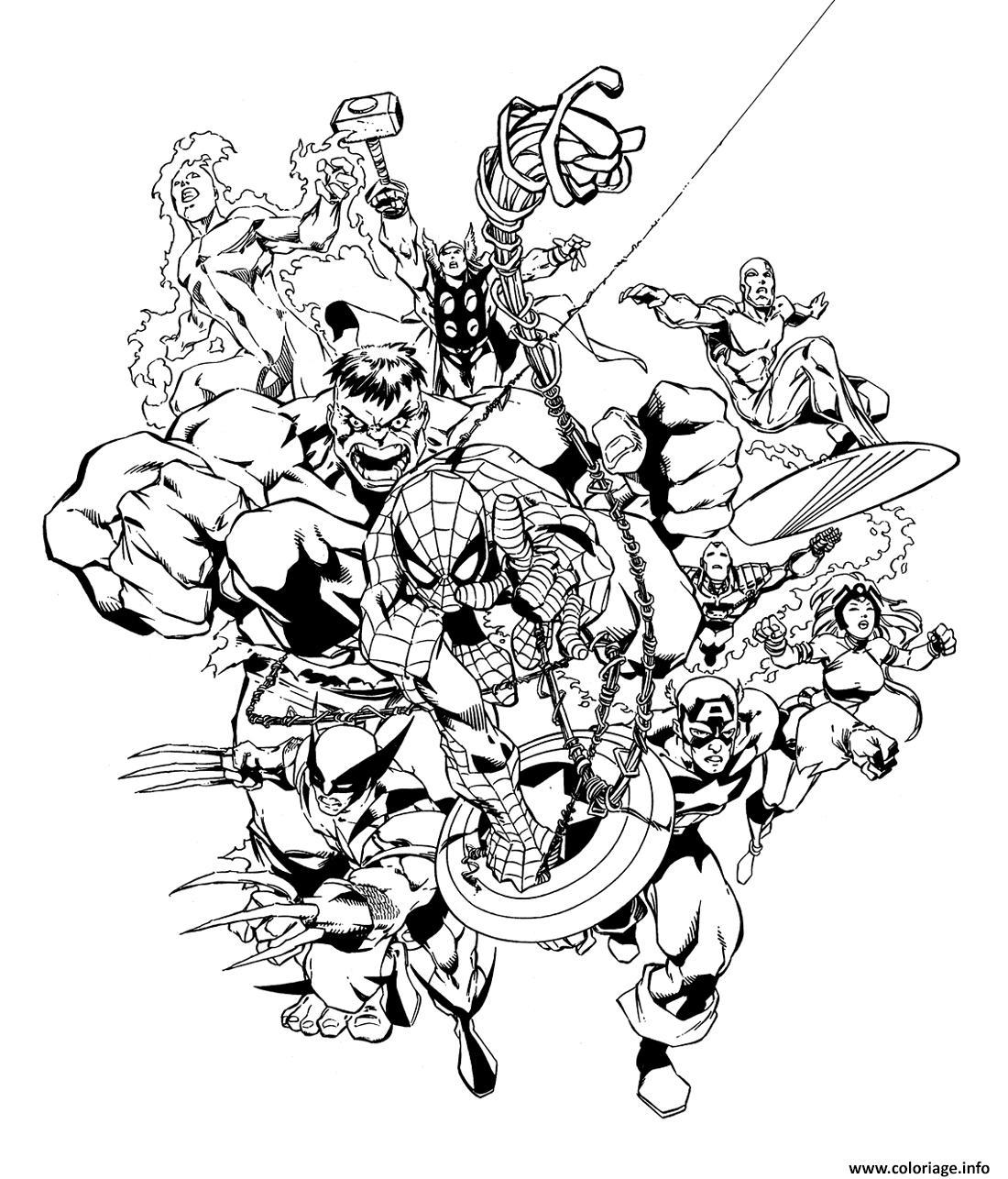 Coloriage tous les avengers et heroes dessin - Coloriage de tous ...
