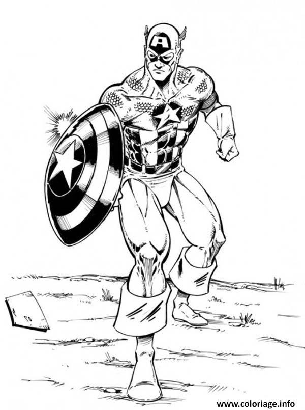 Dessin avengers captain america Coloriage Gratuit à Imprimer