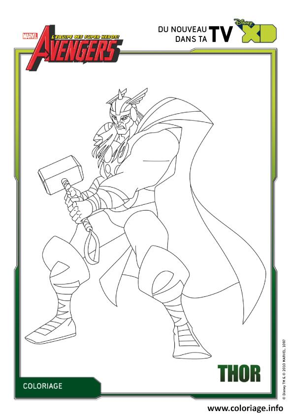 Coloriage Avengers Thor Disney Xd dessin