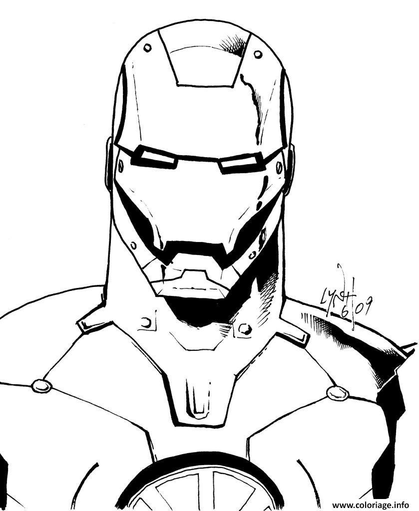 Coloriage avengers iron man portrait visage robot dessin - Coloriage spiderman portrait ...