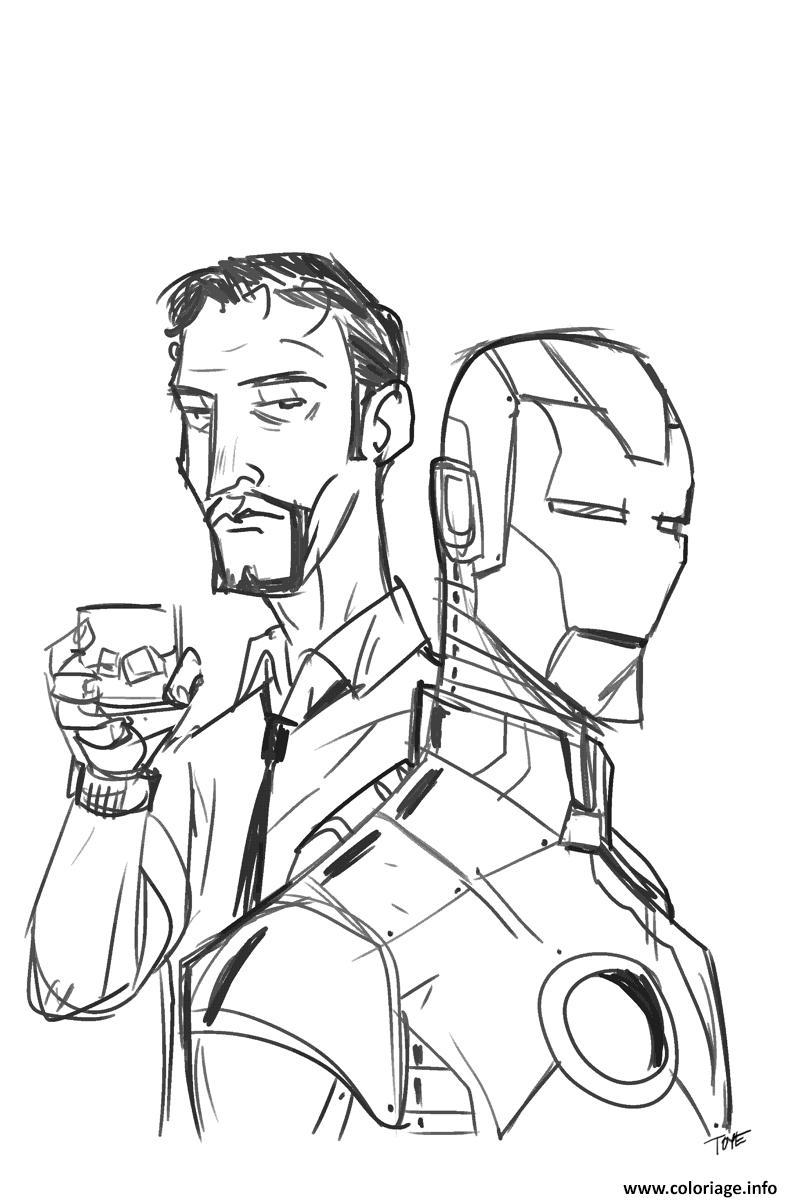 Coloriage avengers iron man portrait dessin - Coloriage de iron man ...