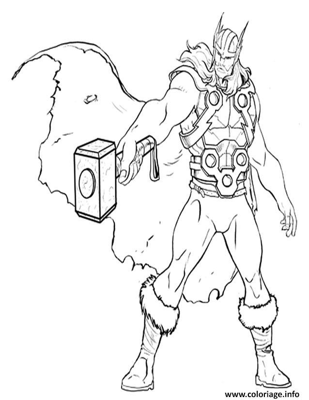 Dessin avengers thor en position attaque Coloriage Gratuit à Imprimer