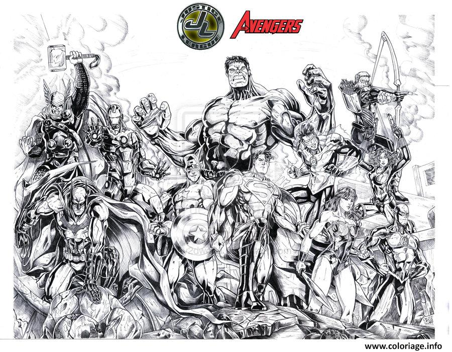 coloriage avengers vs justice league