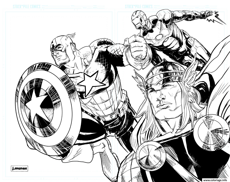 Coloriage Iron Man Thor Captain America dessin