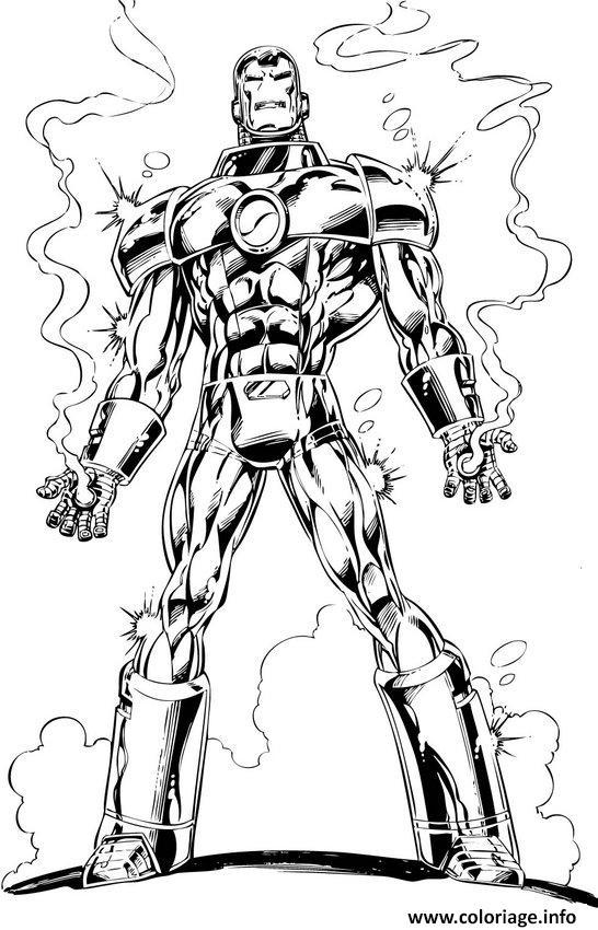 Dessin avengers iron man en feu Coloriage Gratuit à Imprimer