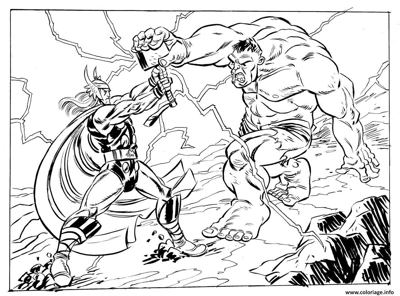 coloriage avengers thor vs hulk