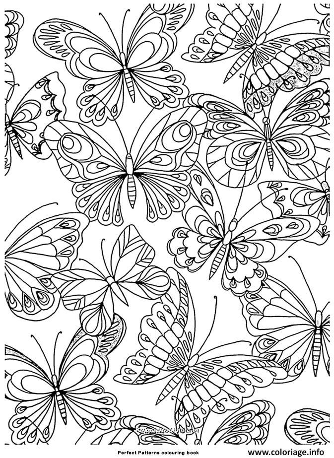 Dessin adulte papillons nature antistress Coloriage Gratuit à Imprimer