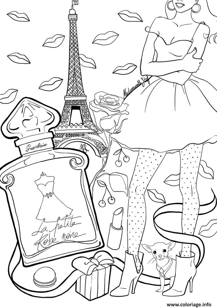 Dessin adulte paris france tour effeil Coloriage Gratuit à Imprimer