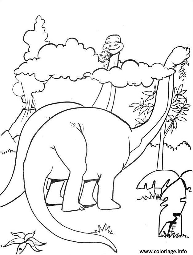 Dessin 2 dinosaures mangent plantes jurassic park 195 Coloriage Gratuit à Imprimer