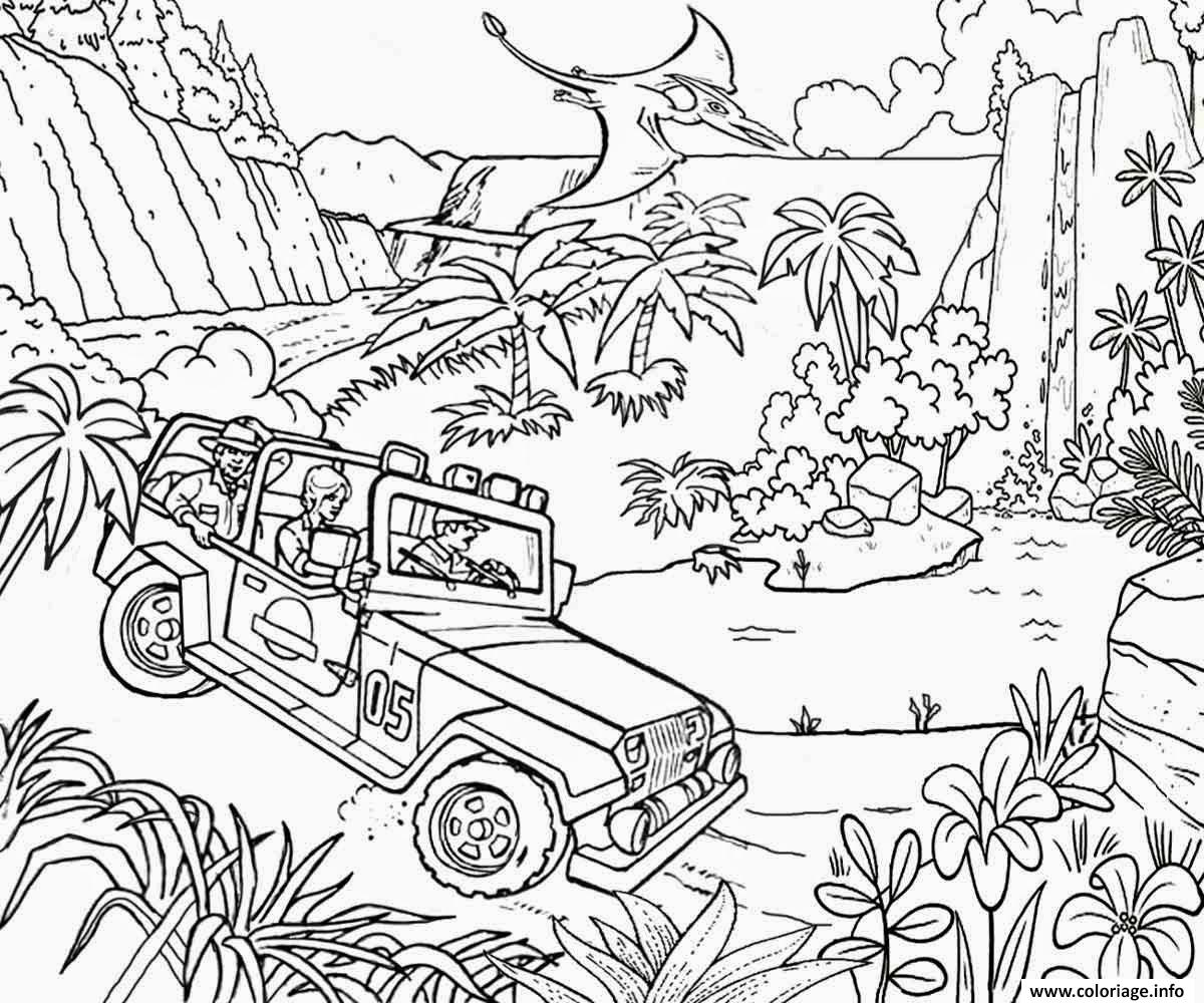 Coloriage Jungle Jeep Car Jurassic Park Dessin