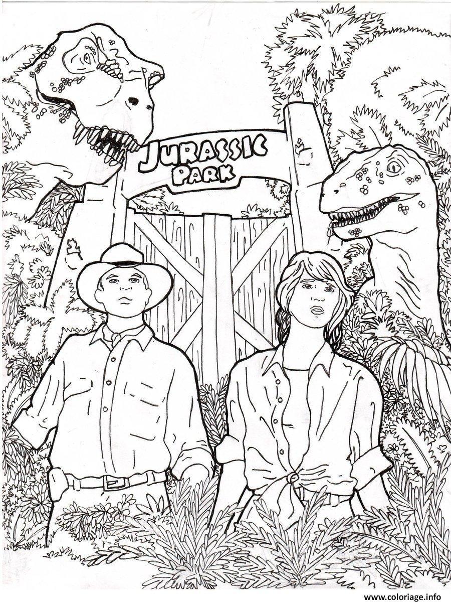 Dessin entree du parc de jurassic park 5 Coloriage Gratuit à Imprimer