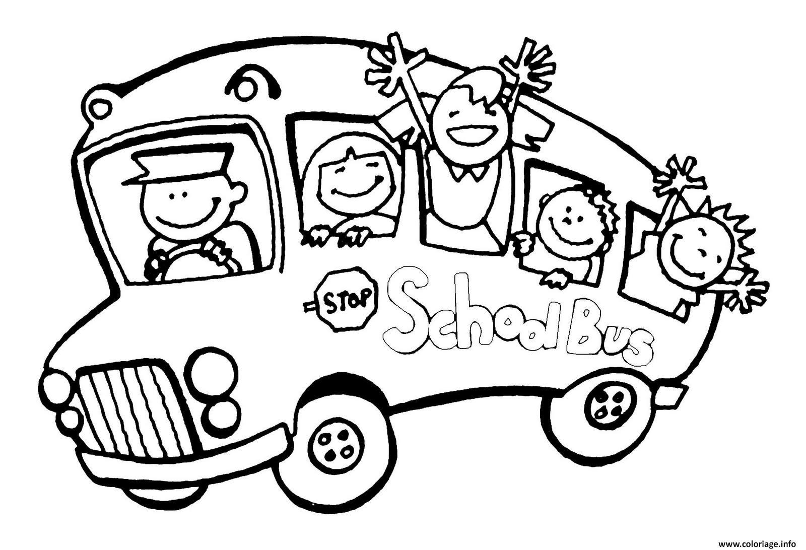Coloriage bus scolaire ecole - Autobus scolaire dessin ...