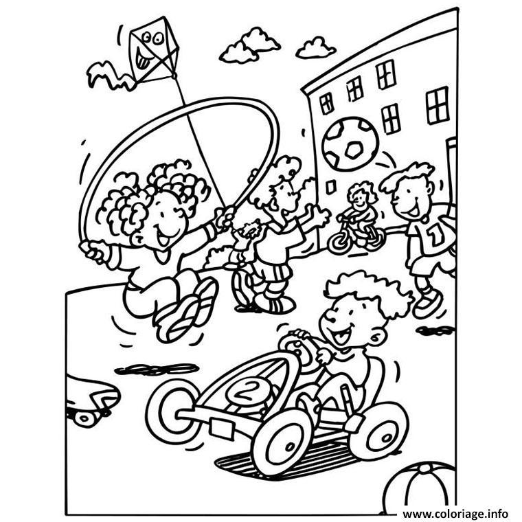 Dessin rentree maternelle enfants jouent recreations Coloriage Gratuit à Imprimer
