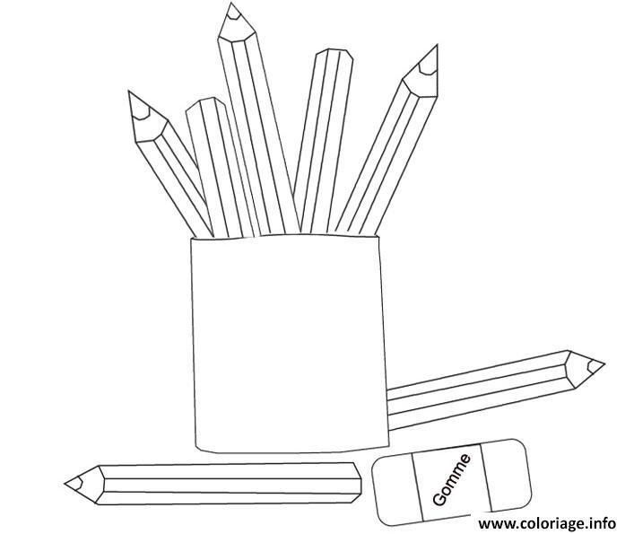 Dessin rentree maternelle crayons et efface Coloriage Gratuit à Imprimer