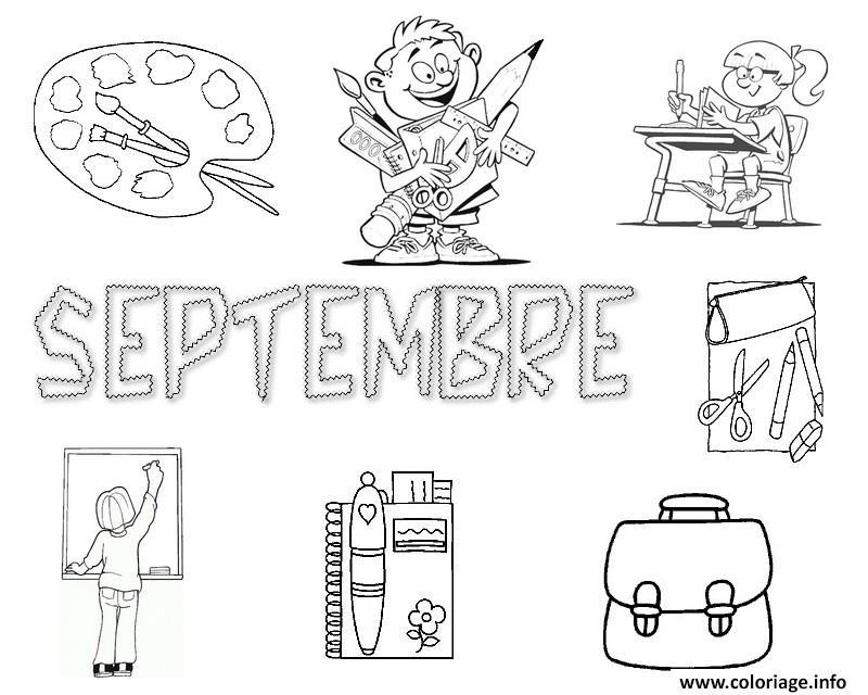 Coloriage rentree maternelle septembre dessin - Coloriage rentree des classes ...