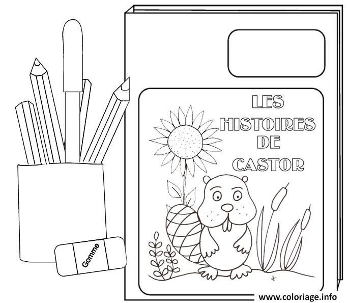 Coloriage rentree maternelle livre crayons - Livre maternelle gratuit ...