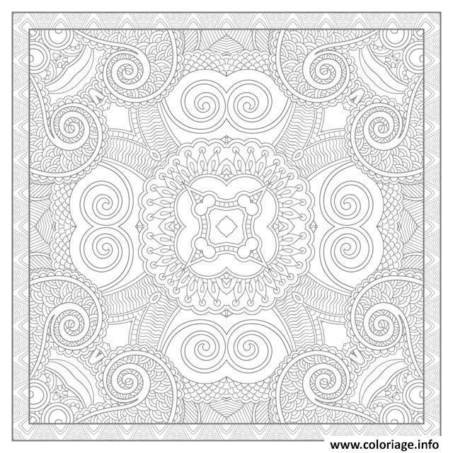 Dessin adulte mandala carre par karakotsya 4 Coloriage Gratuit à Imprimer