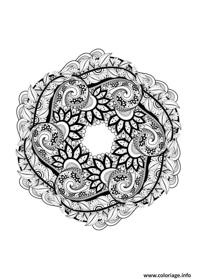 Coloriage adulte mandala complexe zen dessin - Imprimer des mandalas gratuit ...