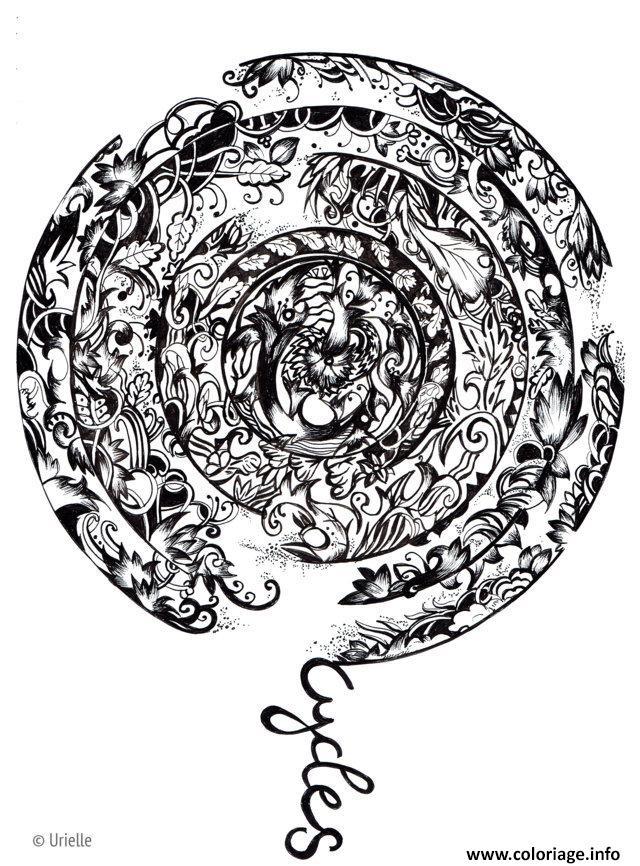 Dessin adulte urielle mandala cycles Coloriage Gratuit à Imprimer