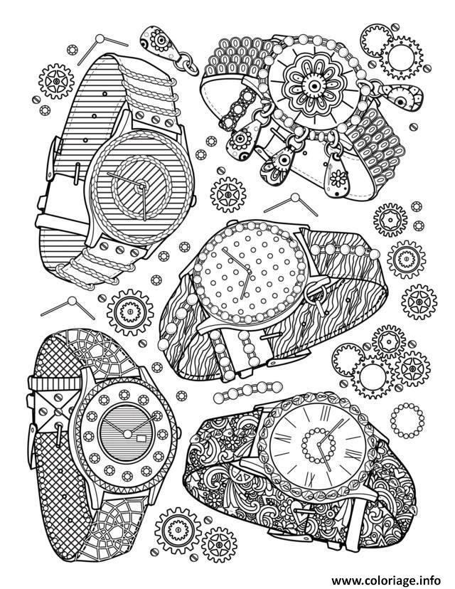Dessin adulte livre bijoux montres Coloriage Gratuit à Imprimer