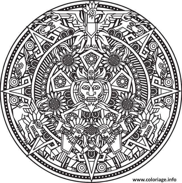Dessin mandala inspiration incas maya azteque Bigredlynx Coloriage Gratuit à Imprimer