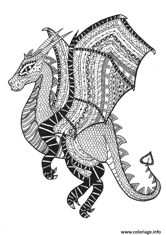 Dessin adulte dragon zentangle rachel  Coloriage Gratuit à Imprimer