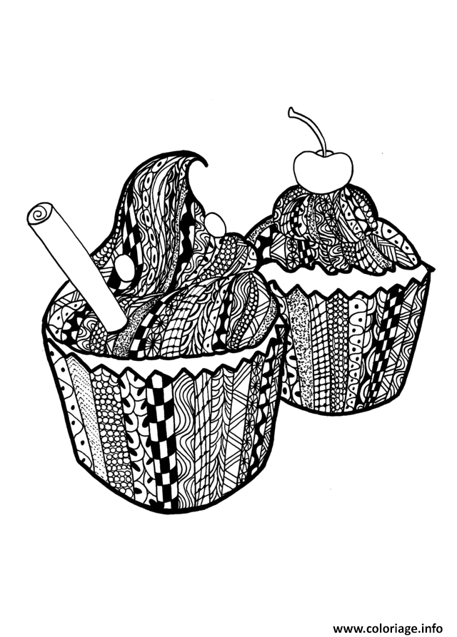 Coloriage Adulte Zentangle Cupcakes Celine Dessin