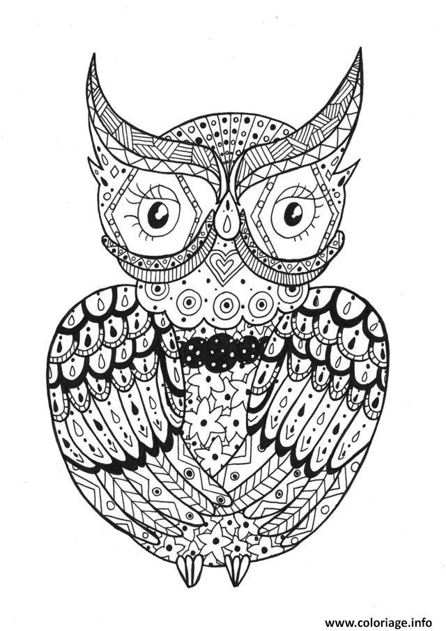 Coloriage adulte hibou zentangle rachel dessin - Image zen a imprimer ...