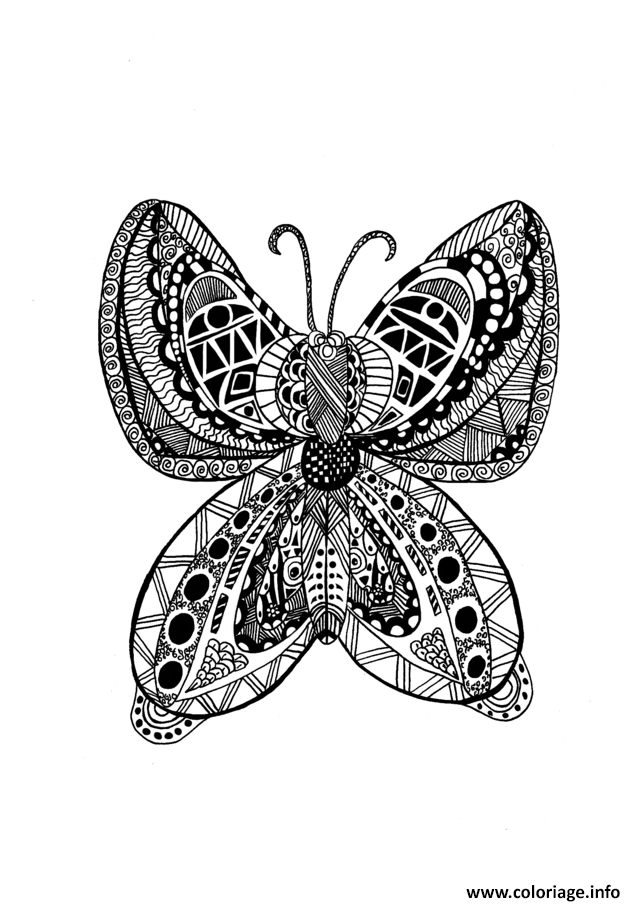 Coloriage Adulte Papillon Zentangle Celine  Dessin à Imprimer