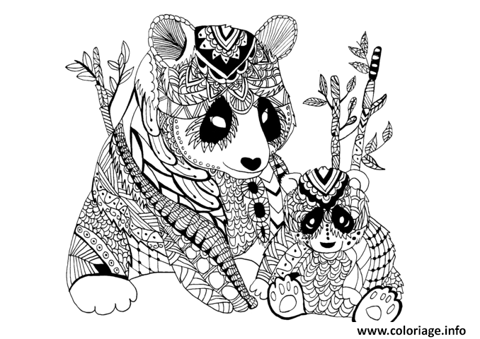 Coloriage adulte panda zentangle celine dessin - Coloriage a imprimer panda ...