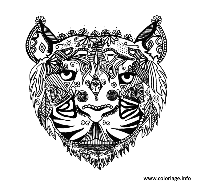 Dessin adulte tigre zentangle par Alice  Coloriage Gratuit à Imprimer