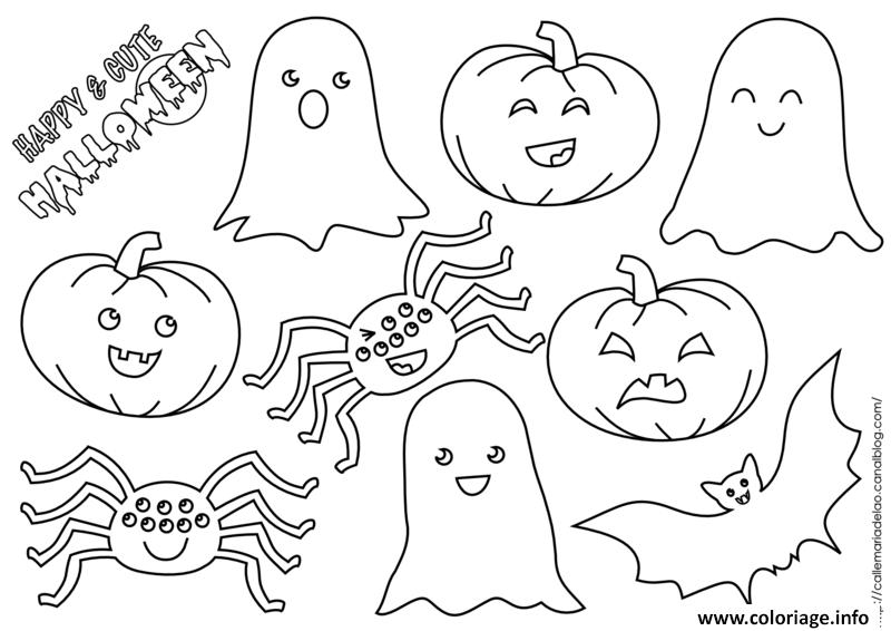 citrouille fantome chauvesouris araignee halloween coloriage dessin