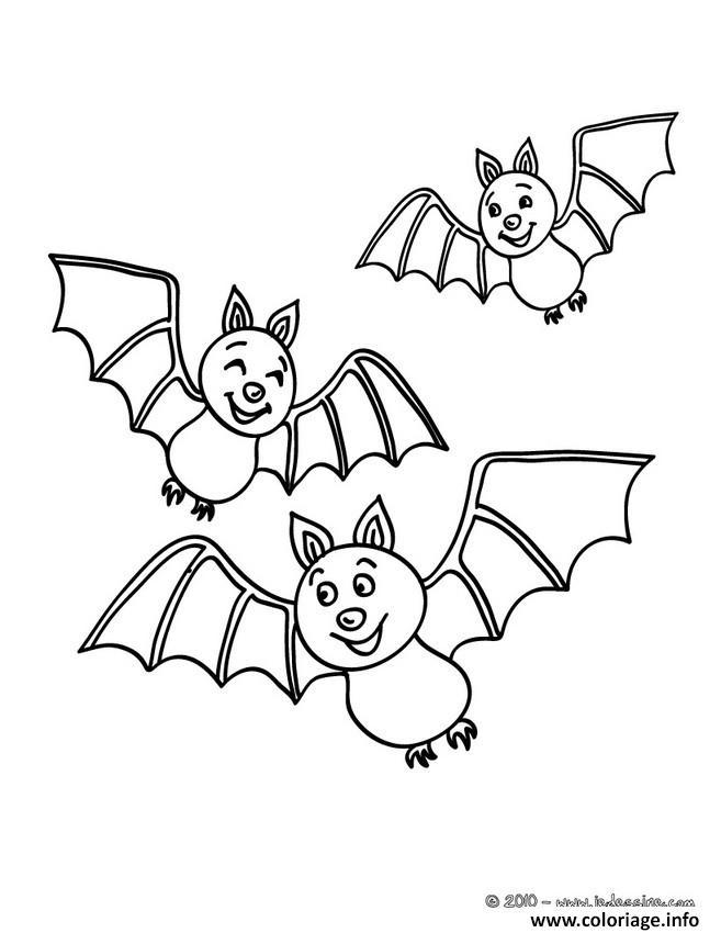 Coloriage halloween trois chauves souris dessin - Chauve souris a imprimer ...