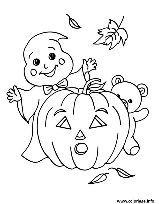 Coloriage Citrouille Fantome Nounours Halloween Dessin Halloween Fantome A Imprimer
