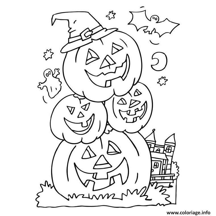 trois citrouilles d halloween empilees coloriage dessin
