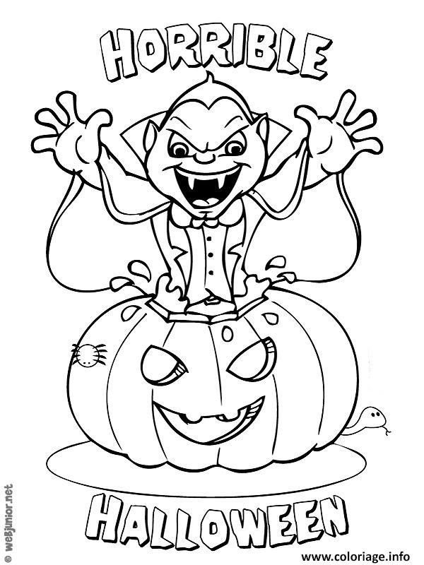 vampire citrouille halloween coloriage