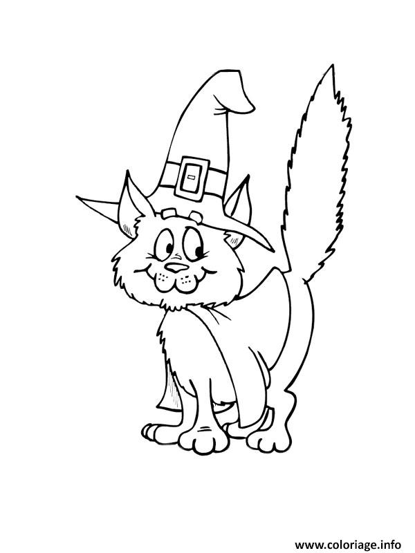 Coloriage chat halloween sorciere - Coloriage de chat ...
