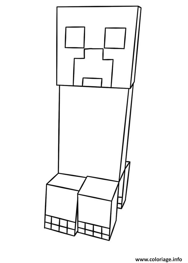 Coloriage Cochon Minecraft.Coloriage Minecraft Creeper Jecolorie Com