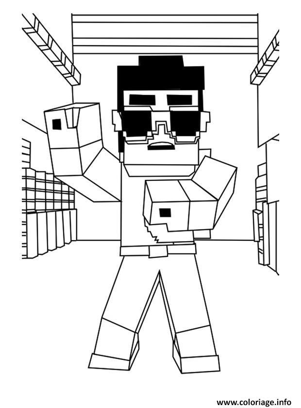 Coloriage Minecraft Gangnam Style