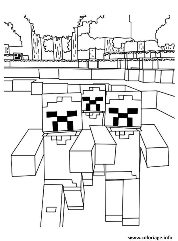 Dessin minecraft une horde de zombies Coloriage Gratuit à Imprimer