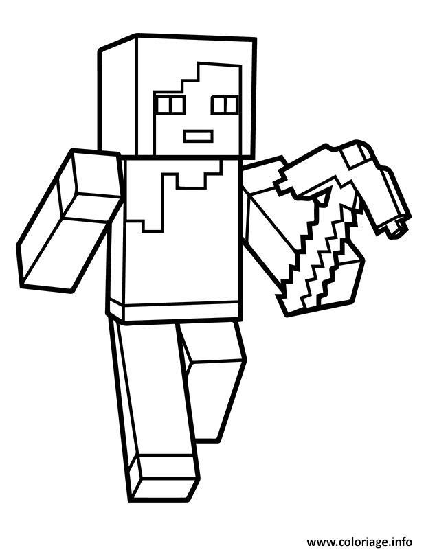 Coloriage Minecraft Alex Dessin