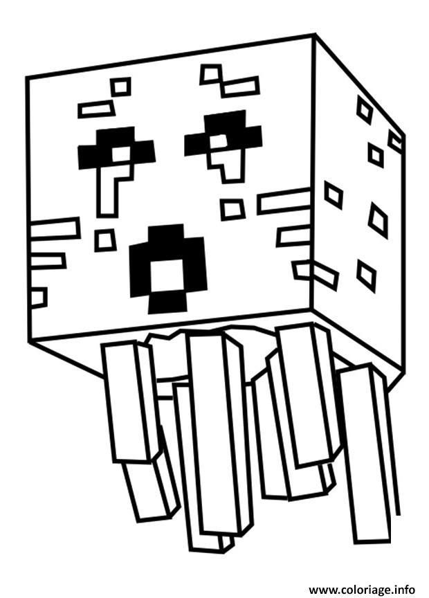 Coloriage Minecraft Ghast Dessin Minecraft à imprimer