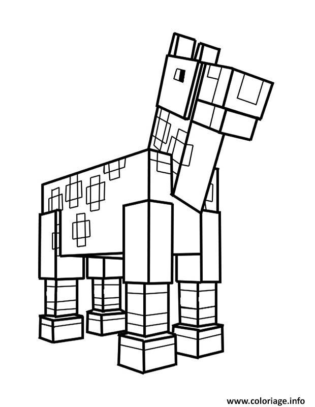 coloriage minecraft cheval dessin minecraft à imprimer